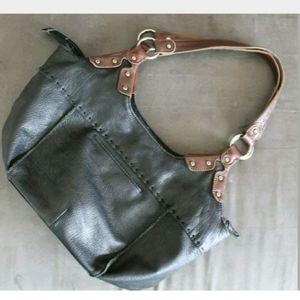 The SAK Large Black Leather Shoulder Hobo Tote Sat